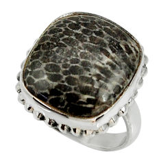 12.83cts natural stingray coral from alaska silver solitaire ring size 7 r28080