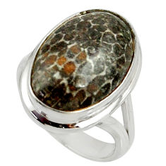 13.69cts natural stingray coral from alaska silver solitaire ring size 7 r28140