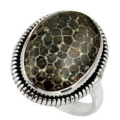 14.00cts natural stingray coral from alaska silver solitaire ring size 8 r28078