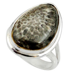 12.65cts natural stingray coral from alaska silver solitaire ring size 8 r28125