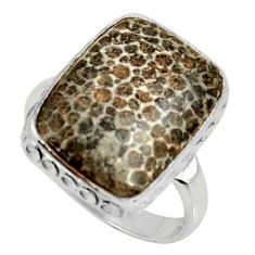 12.52cts natural stingray coral from alaska silver solitaire ring size 9 r28072