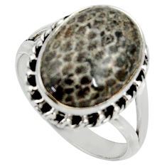 10.02cts natural stingray coral from alaska silver solitaire ring size 9 r28122
