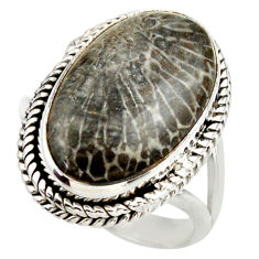 17.20cts natural stingray coral from alaska silver solitaire ring size 9 r28791