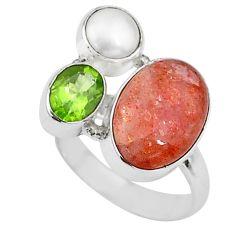 10.64cts natural sunstone (hematite feldspar) 925 silver ring size 8 t16055
