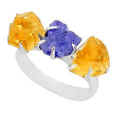 10.32cts natural tanzanite citrine raw 925 silver 3 stone ring size 7 t7114