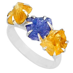 8.87cts natural tanzanite citrine raw 925 silver 3 stone ring size 7 t7115