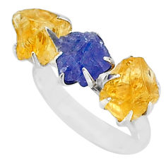 9.37cts natural tanzanite citrine raw 925 silver 3 stone ring size 8 t7108