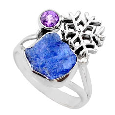 7.50cts natural tanzanite raw amethyst silver snowflake ring size 7.5 r66989