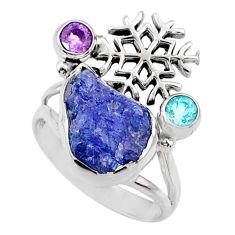 8.48cts natural tanzanite raw amethyst silver snowflake ring size 8 r66982