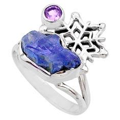 7.53cts natural tanzanite raw amethyst silver snowflake ring size 9 r66979