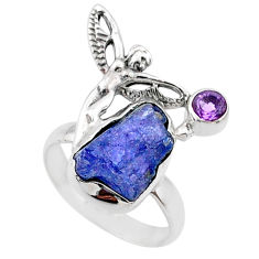 7.33cts natural tanzanite raw silver angel wings fairy ring size 6.5 r66997