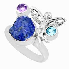 8.83cts natural tanzanite raw 925 silver angel wings fairy ring size 8 r74030