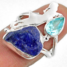 7.50cts natural tanzanite rough 925 silver ballet dance charm ring size 7 r61926