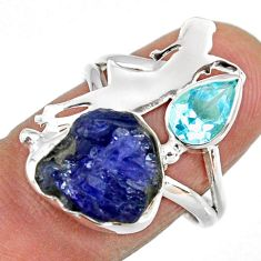 7.50cts natural tanzanite rough 925 silver ballet dance charm ring size 7 r61931