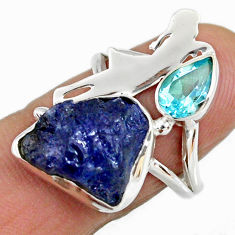 8.42cts natural tanzanite rough 925 silver ballet dance charm ring size 7 r61939