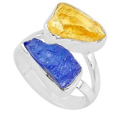 11.23cts natural tanzanite raw citrine rough 925 silver ring size 7 t10010