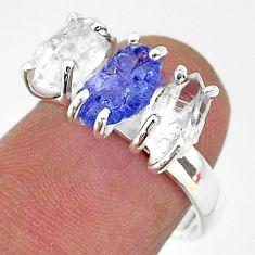 7.91cts natural tanzanite raw herkimer diamond 925 silver ring size 7 t14083