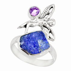 6.95cts natural tanzanite raw silver angel wings fairy ring size 6.5 r74039