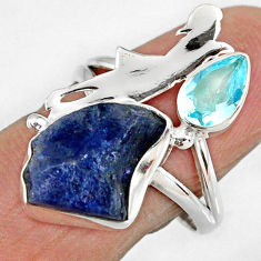 7.53cts natural tanzanite rough silver ballet dance charm ring size 8.5 r61934