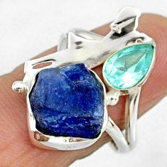 7.33cts natural tanzanite rough silver ballet dance charm ring size 7.5 r61937