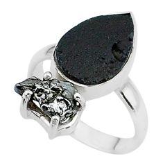 8.44cts natural tektite campo del cielo meteorite 925 silver ring size 7 t14217