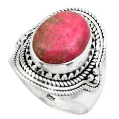 5.18cts natural thulite (unionite, pink zoisite) 925 silver ring size 7.5 r44706