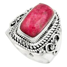 3.86cts natural thulite (unionite, pink zoisite) 925 silver ring size 7 r44703