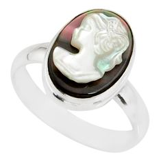 4.63cts natural titanium cameo on shell 925 silver lady face ring size 6 r80447