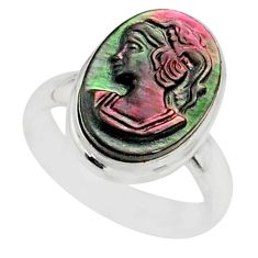 4.84cts natural titanium cameo on shell 925 silver lady face ring size 6 r80454