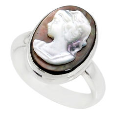 4.67cts natural titanium cameo on shell 925 silver lady face ring size 6 r80487