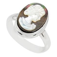 4.84cts natural titanium cameo on shell 925 silver lady face ring size 8 r80488