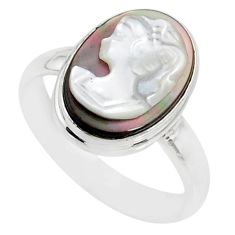 5.12cts natural titanium cameo on shell silver lady face ring size 8.5 r80466