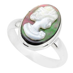 5.12cts natural titanium cameo on shell silver lady face ring size 8.5 r80469