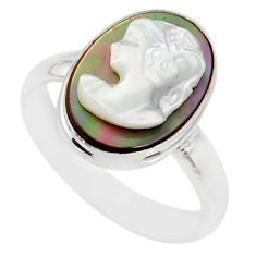 4.84cts natural titanium cameo on shell silver lady face ring size 8.5 r80485