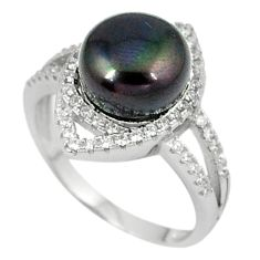 Natural titanium pearl topaz 925 sterling silver ring jewelry size 7 c25981