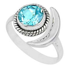 3.32cts natural topaz 925 sterling silver adjustable moon ring size 9.5 r89621