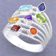 3.13cts natural topaz cornelian (carnelian) silver chakra ring size 7.5 t3793