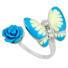 Natural white topaz enamel 925 silver butterfly with flower ring size 7 c16762