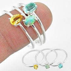 2.98cts natural topaz ethiopian opal citrine 925 silver 3 rings size 8 t50983