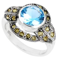4.22cts natural topaz marcasite 925 sterling silver ring size 6 a94573 c24898