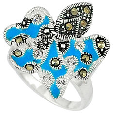 0.66cts natural white topaz marcasite enamel 925 silver ring size 8.5 c15988