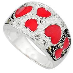 1.17cts natural white topaz marcasite red enamel 925 silver ring size 8.5 c16277