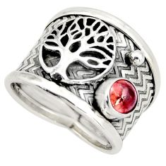 0.88cts natural tourmaline 925 silver tree of life solitaire ring size 7 d45945