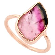 6.36cts natural tourmaline raw 14k rose gold handmade ring size 7.5 r70967