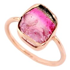 4.95cts natural tourmaline raw 14k rose gold handmade ring size 6.5 r70968