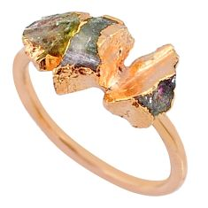 4.46cts natural tourmaline raw 925 silver 14k rose gold ring size 7 r70689