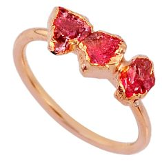 4.07cts natural tourmaline raw 925 silver 14k rose gold ring size 8 r70685
