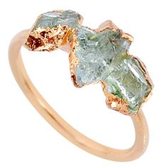 5.08cts natural tourmaline raw 925 silver 14k rose gold ring size 8 r70690