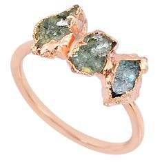 4.46cts natural tourmaline raw 925 silver 14k rose gold ring size 8 r70693
