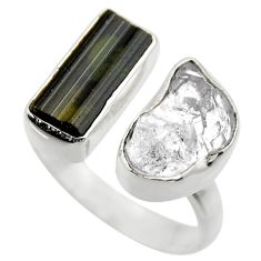 12.43cts natural tourmaline rough 925 silver adjustable ring size 7.5 r29596